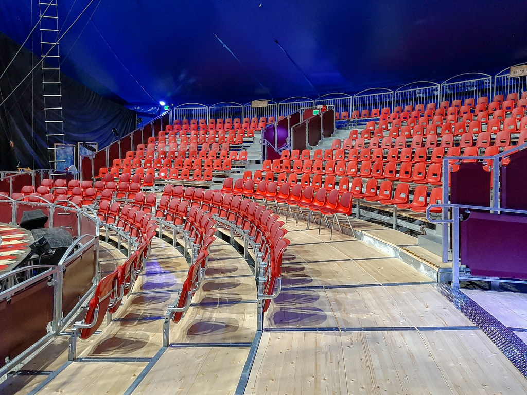 Bleachers and big tent of the Circus Vargas